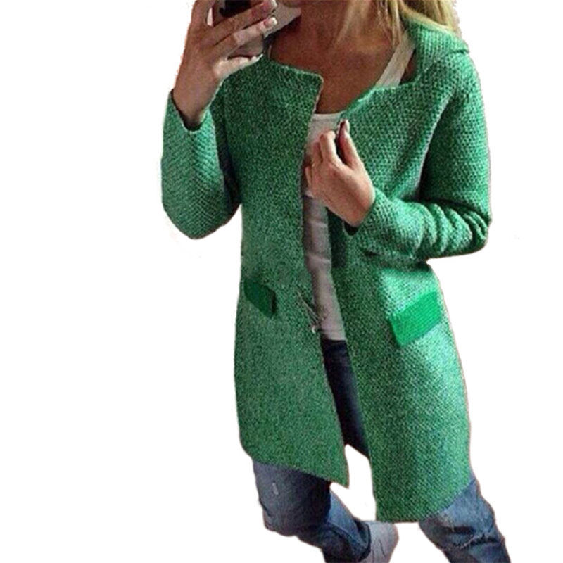 Elegant Knitted Autumn Wool Sweaters Cardigans Long Women Sweater ...