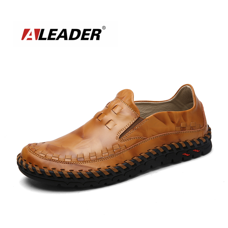 Aleader 2017 Genuine Leather Handmade Oxfords Men Slip On Casual Shoes Luxury Formal Shoes For Men Fashion Classic Loafers dxkzmcm new men flats cow genuine leather slip on casual shoes men loafers moccasins sapatos men oxfords