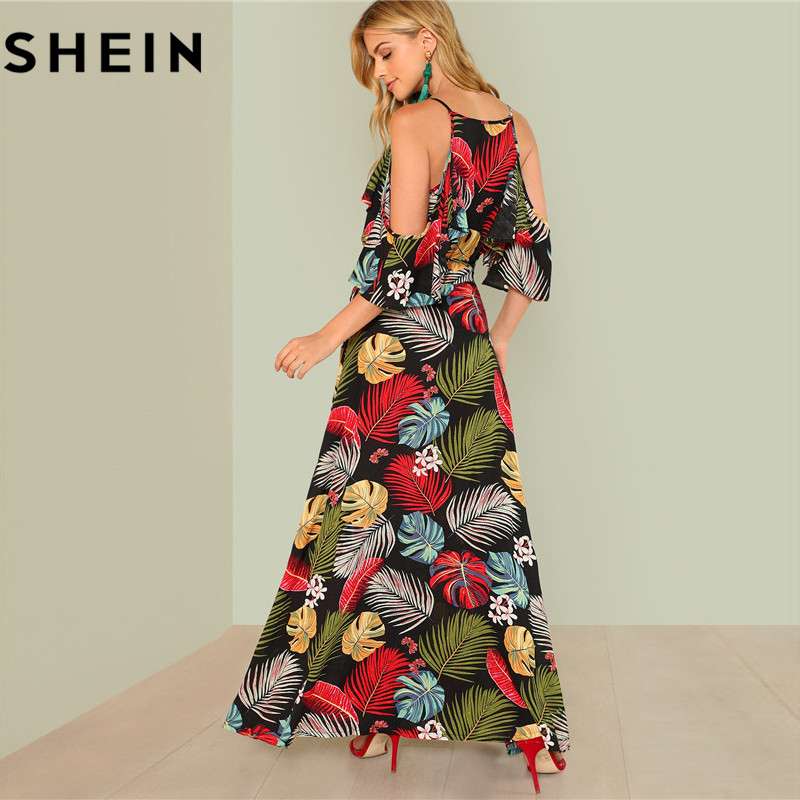 818f09f944 SHEIN Summer Boho Floral Print Sexy Deep V Neck Open Shoulder Maxi Dress  Women Beach Vacation High Waist Surplice Wrap Dresses-in Dresses from  Women's ...