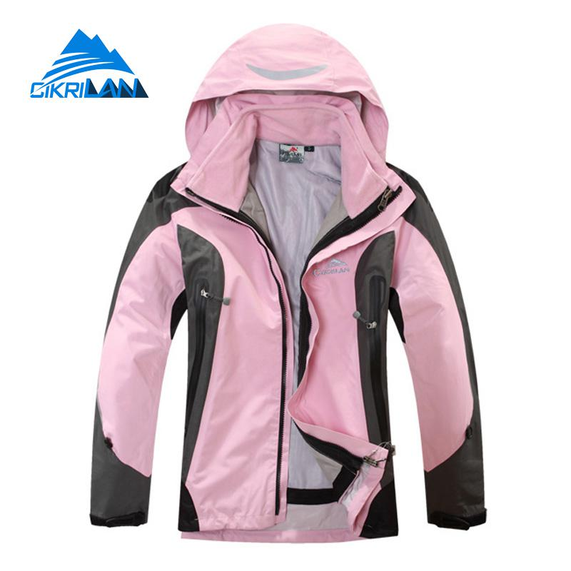 Womens 2in1 Winter Hiking Camping Coat Waterproof Windstopper Climbing Fishing Outdoor Jacket Women Trekking Skiing Jackets