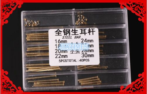 Free Shipping 1 Set Gold Stainless Steel Watch Strap Screw Bar Lug 1 5mm Diameter Steel