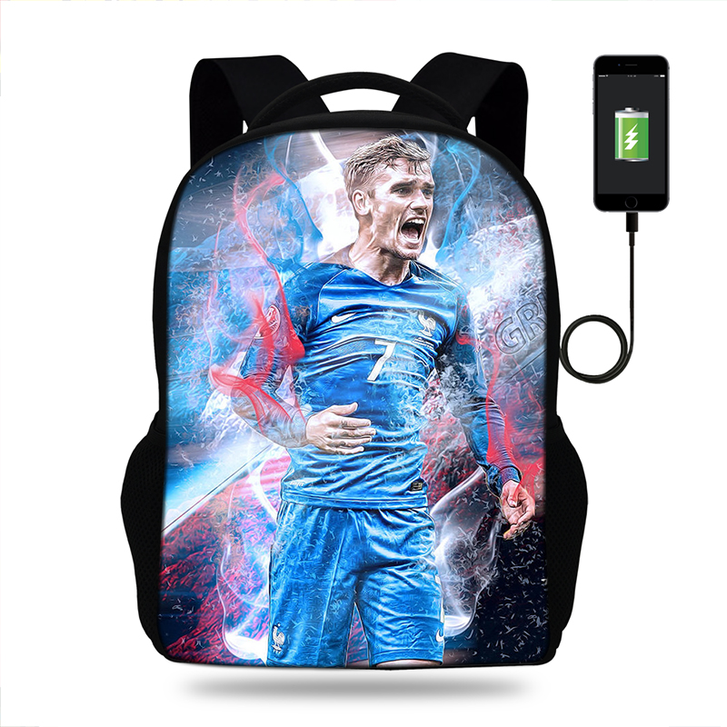 New Antoine Griezmann France Football Backpack USB For Teens Student Bookbags Back to School Travel Gift Bag Men Boys Bagpack in School Bags from Luggage Bags