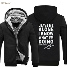 Leave Me Alone I Know What IM Doing Hoodie Letter Print Sweatshirt Men 2018 Casual Winter Zipper Fleece Mens Hoodies Thick Coat