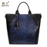 QIWANG Echtem Leder Handtasche Luxus Handtaschenfrauen-designer Top Shop Schlangenhaut Muster Leder Schultertragetaschen