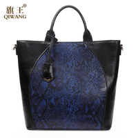 QIWANG Large Genuine Leather Bag Blue Sexy Handbags Women Bags Brand Designer Cow Snakeskin Pattern Leather Shoulder Tote Bags