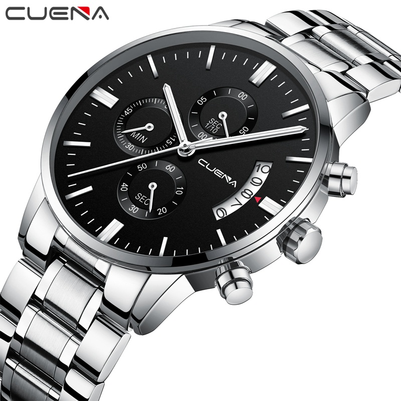 CUENA Mens Watches Top Brand Luxury Silver Stainless Steel Stopwatch 30m Waterproof Fashion Quartz Watch Montre Homme Male Clock megir mens watches top brand luxury fashion business clock man famous watches stainless steel male quartz watch montre homme new