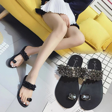 7a47928ea37661 Fashion Women Sandals Bling Rhinestone Ring Toe Shoes Leather Flip Flops  Flats backless comfortable summer beach