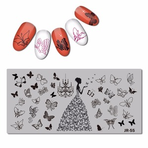 Image 3 - 2018 Stainless Steel Nail Stamping Plate Template Florid Unicorn Swirl Pattern Butterfly Love Wedding Bride Nail Tool JR051 57