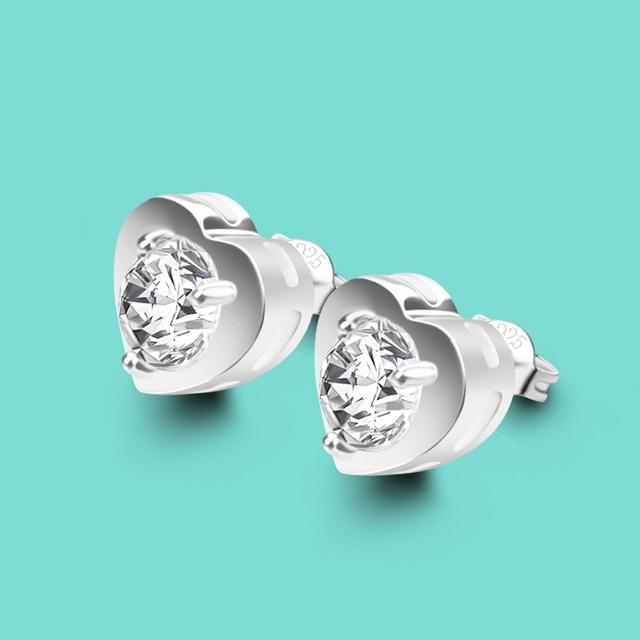 Sweet Style 925 Sterling Silver Stud Earrings Women Love Zircon Inlaid Las Solid