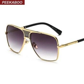 e92e6430c6 Peekaboo Brand new 2016 steampunk square sunglasses men flat top metal gold  european american retro sun glasses luxury male