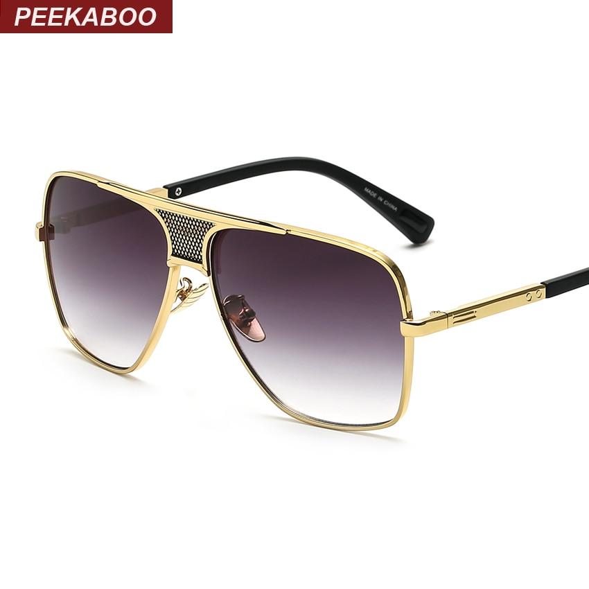 Peekaboo Brand new 2016 steampunk square sunglasses men flat top metal gold european american retro sun glasses luxury male