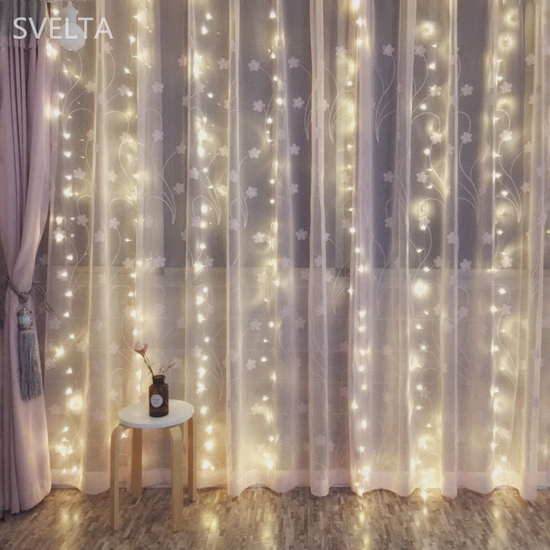 SVELTA 4X4M 512Bulbs LED String Fairy Lights Garland Jul Curtain - Festlig belysning - Foto 4