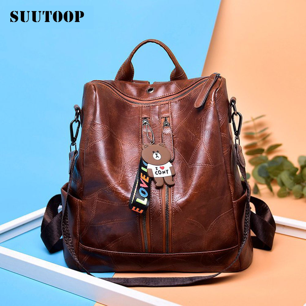 New Waterproof PU Leather Women's Bag Female Youth Travel Backpacks Multifunction Schoolbag Feminina School Mochila Fashion Pack