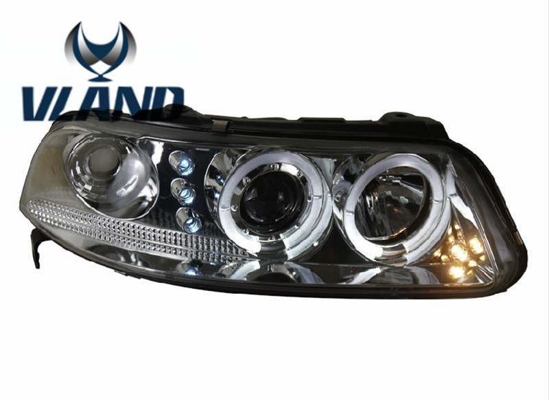 Free Shipping Vland Factory Headlamp for Volkswagen Gol LED Headlight  H7 Xenon Lamp with Angel Eyes Led Bar Lamp Plug and Play