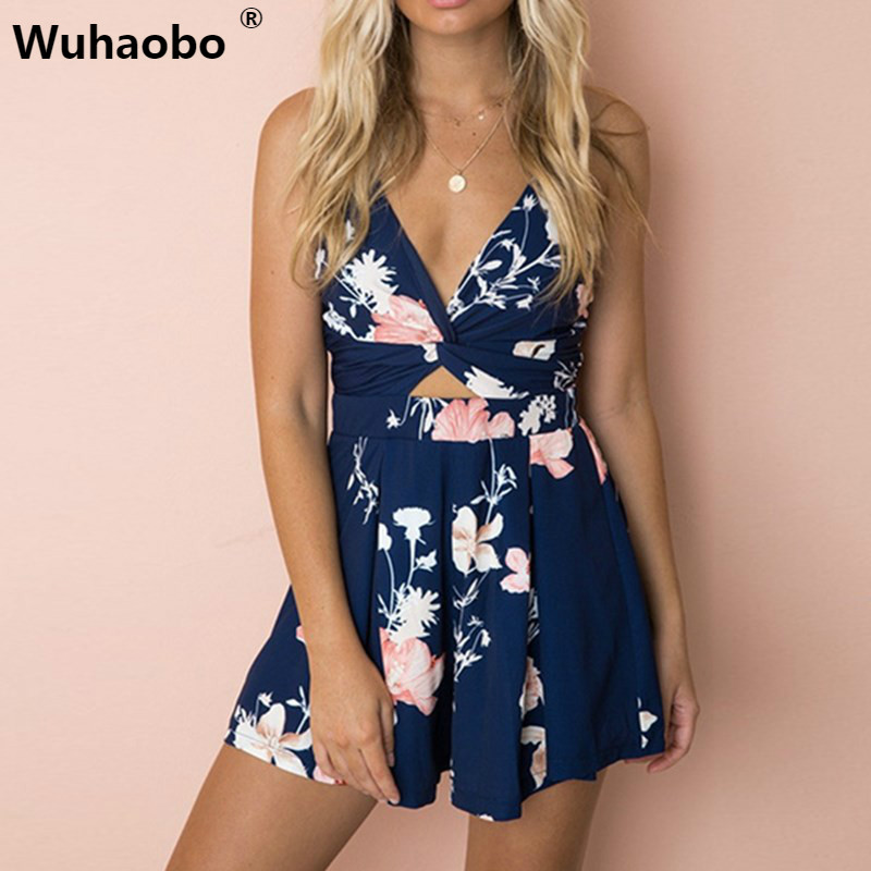 Wuhaobo Sexy Strap Floral Print Party Playsuit Women Summer Boho Style Wide Leg Beach Rompers Jumpsuit Backless Bow Tie Overalls