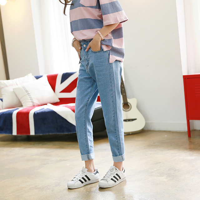 Shipping from russia Harem Pants Vintage High Waist Jeans new womens pants Ankle-length pants loose cowboy pants