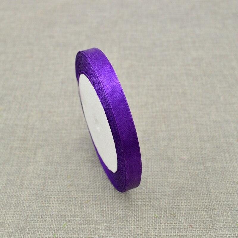 10 мм, 25 ярдов, шелковая атласная лента для свадебного автомобиля, ручная работа, Подарочная коробка для конфет, материалы для украшения, рождественские ленты - Цвет: Dark purple