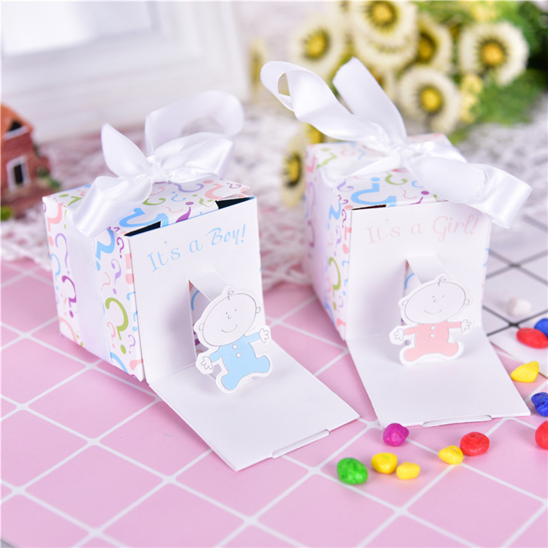12pc/lot Baby Shower Baby Candy Box Cute Babyshower Party Boxes Its A Boy Its A Girl Printed Lovely Candy Small Gift Box NEW! ...