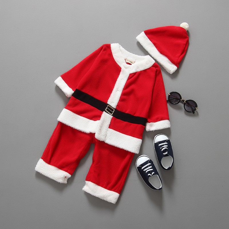 2016 Christmas Costume Baby Boys Clothes Sets Baby Santa Claus Rompers Long Sleeve +Hat Suits Toddler Baby Clothes Warm Fleece
