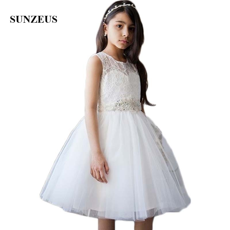 Knee Length Short Wedding Party   Dress   for Little   Girls   Tank Lace   Flower     Girls     Dresses   2018 Tank A-Line Birthday Party Gown SF22