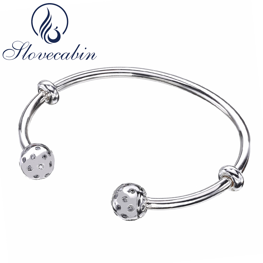 Slovecabin 2017 Autumn New Open Shimmering Bangle & Bracelet For Women 925 Sterling Silver Moment Open Bangle With CZ Pulseira slovecabin 2017 new unique moment open bangle bracelet for women 925 sterling silver pave stone open bangle for bead diy jewelry