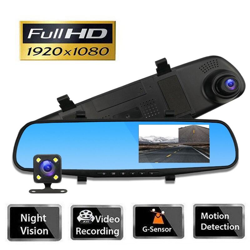Car Rearview Camera Dash Cam Car DVR 1080P Dual Lens DVR Full HD DVR Car Cam Recorder 4.3 Inch Rearview Mirror Video Recorder цена