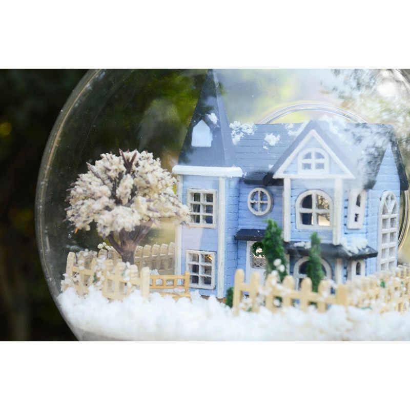 DIY בית בובות מיניאטורי בית בובות זכוכית כדור עם ריהוט בית בובות Casa דגם קישוט צעצועים לילדים מתנה B004 # E