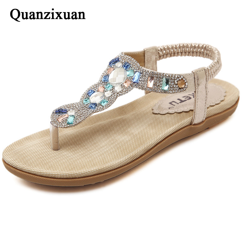 Quanzixuan New Arrival Women Sandals Summer Fashion Flip Flops Casual Flat Sandals Rhinestone Ladies Shoes Plus Size covoyyar 2018 fringe women sandals vintage tassel lady flip flops summer back zip flat women shoes plus size 40 wss765