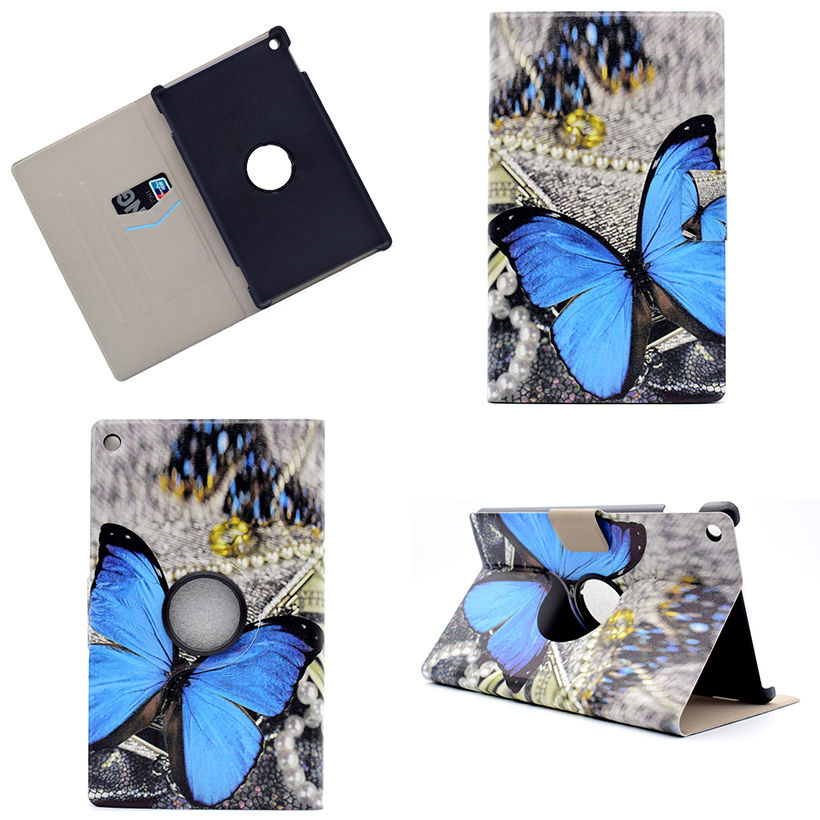 360 Degree Rotation Fashion Print Case Funda For Amazon New Kindle Fire HD8 HD 8 2016 Cover Tablet Stand PC+PU Leather Shell new kindle fire hd8 flip pu leather case cover colorful print luxury protective stand shell for amazon new kindle fire hd 8 2016