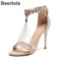 Gladiator Women Shoes Summer Studded Stiletto Sandals Zipper Sexy Dress Wedding Shoes Woman With Feathers Rhinestone Cover Heel