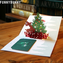 лучшая цена FUNNYBUNNY 3D Pop Up Reindeer Card with Tree Greeting Laser Paper New Year Message Postcard