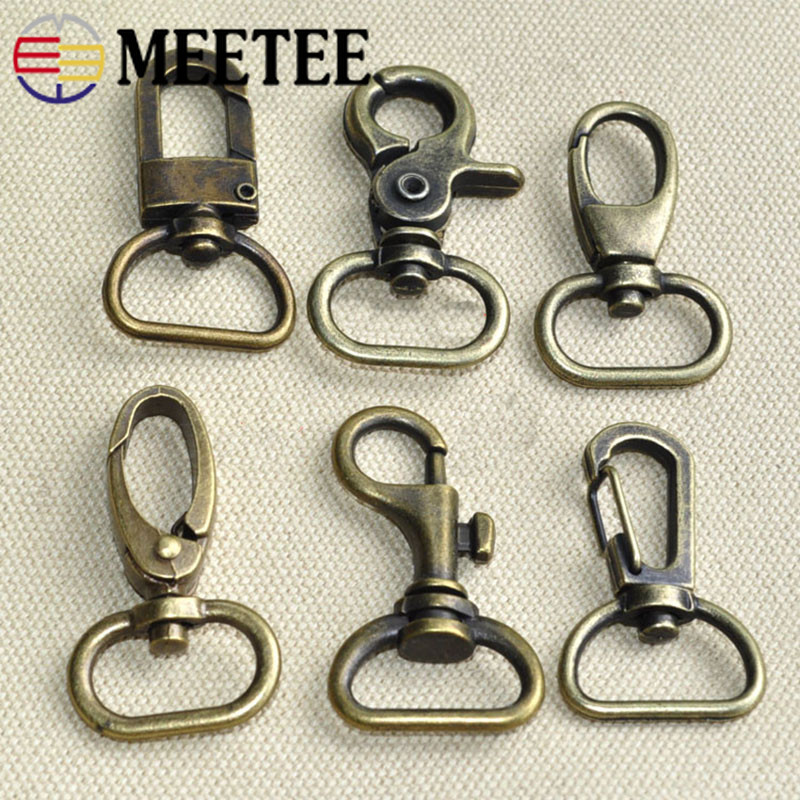 Meetee 4/10/20pcs 2cm Bronze Snap Buckles Metal Lobster Cilps Hook DIY Bag Strap Hang Ring Buckles Hardware Accessories BF072