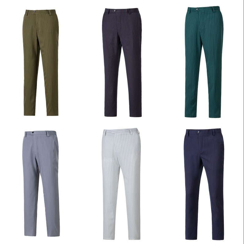 Men s Suit Pants Wedding Men Dress Pants Stripe Wool Trousers Straight Office Business Mens Formal