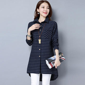 #2910 Spring Blue Red Black Stripe Cotton Linen Shirt Female Slim Long Sleeve Tunic Elegant Casual Asymmetrical Blouse