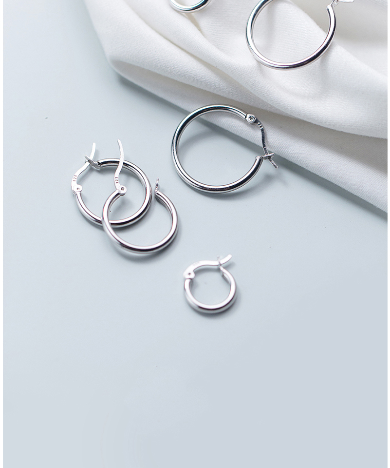Round Hoop Earrings For Women Classic 925 Sterling Silver Ear Piercing Clip On Earring For Female Fashion Pendientes Aro Plata (4)