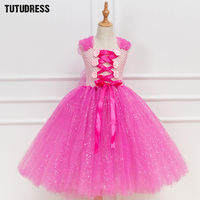 Sparkle Pink Princess Aurora Rapunzel Tutu Dress Girl Kids Cosplay Sleeping Beauty Costume Halloween Girls Birthday
