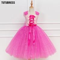 Sparkle Pink Princess Aurora Rapunzel Tutu Dress Girl Kids Cosplay Sleeping Beauty Costume Halloween Girls Birthday