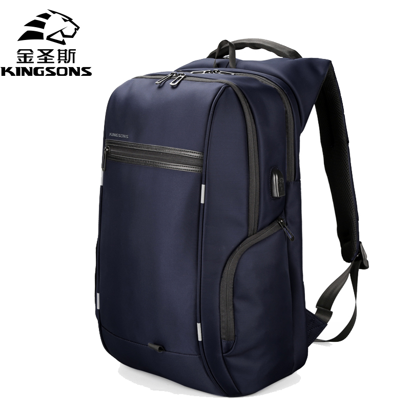 Kingsons Top Capacity Waterproof Men Backpack Usb Charge Backpacks For Business Anti-theft Laptop Bag With Shoulder Strap Sucker ozuko multi functional men backpack waterproof usb charge computer backpacks 15inch laptop bag creative student school bags 2018