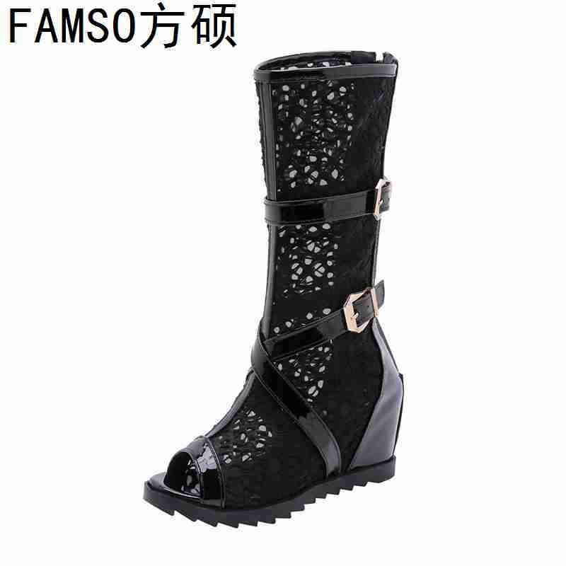 FAMSO 2019 New Fashion Women Boots Black White Summer Mid Calf Motorcycle Boots Wedges Peep toe