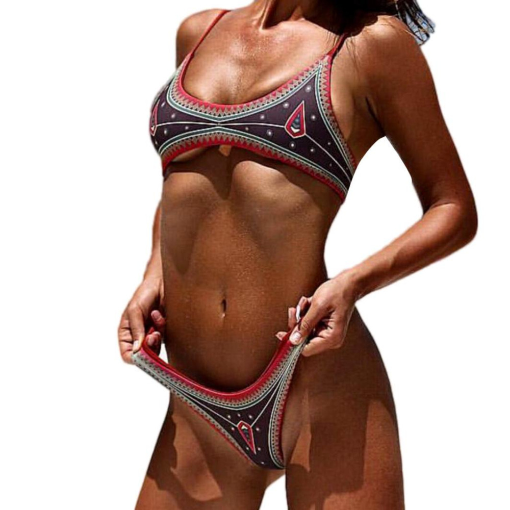 KLV Skinny Swimwear-for-women bikini push up brazilian Bodysuits Print Swimsuits Separate for women Summer women's Set #@&