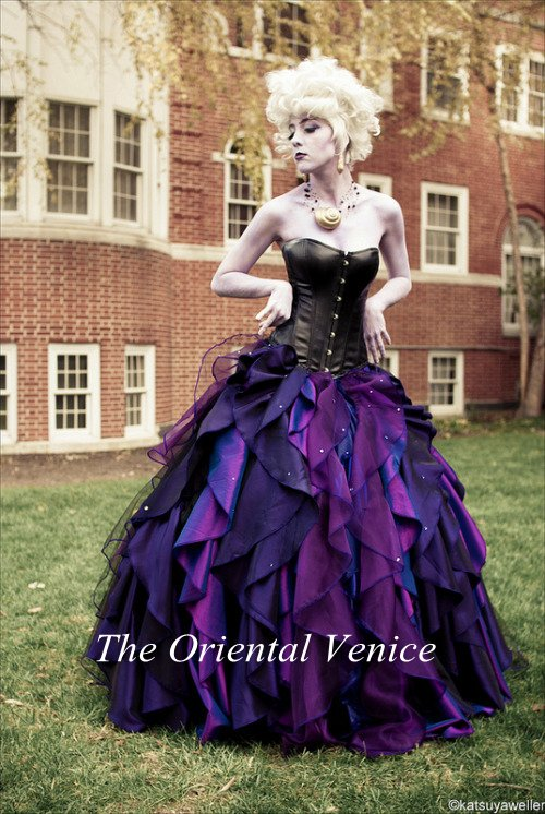 Black and purple corset wedding dress
