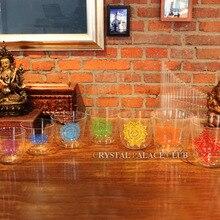 Один набор 7 шт. 4 Октава прозрачные кварцевые поющие чаши с 7 Чакр дизайн C D E F G A B note+ 7 шт. mallets и 7 шт. уплотнительное кольцо