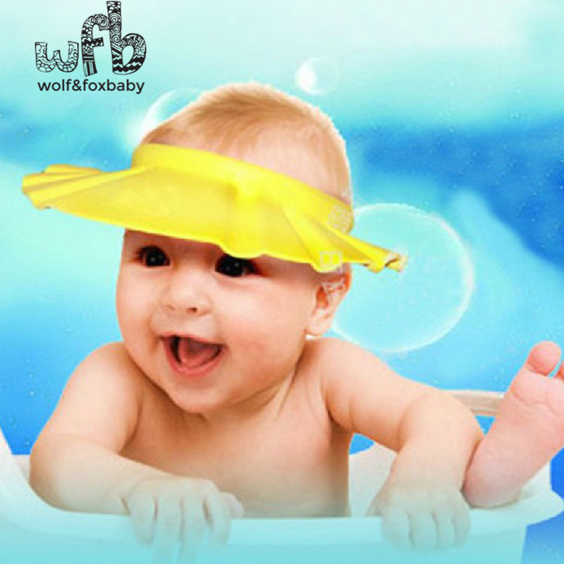 Retail Adjustable Shower caps protect Shampoo for baby health Bathing bath waterproof kid children Wash Hair Shield Hat