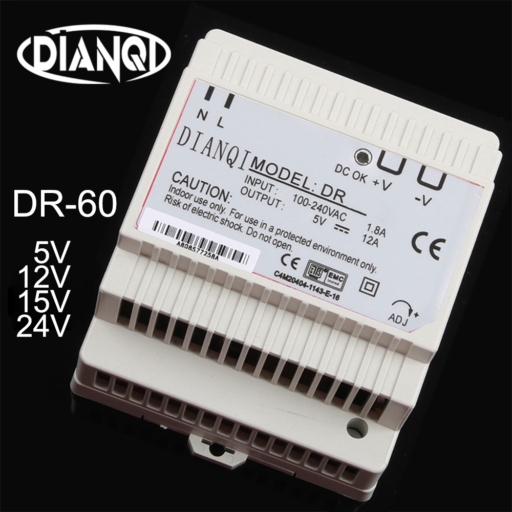 DIANQI DR-60W 12V <font><b>24V</b></font> 15V 48V Din Rail switching power supply ac-dc driver <font><b>voltage</b></font> <font><b>regulator</b></font> power suply DR-60-12 DR-60-24 60-48 image