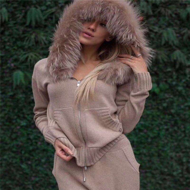2018 Top Fashion Real Inverno Grosso Terno de Cashmere Moda Feminina Gola de Pele De Raposa Com Capuz Cardigan + Calças de Malha 2 peça mulher