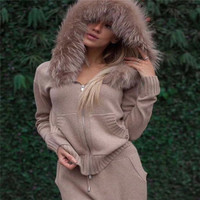 2018 Top Fashion Real Winter Thick Cashmere Suit Female Fashion Fox Fur Collar Hooded Cardigan + Trousers Knitted 2 Piece Woman