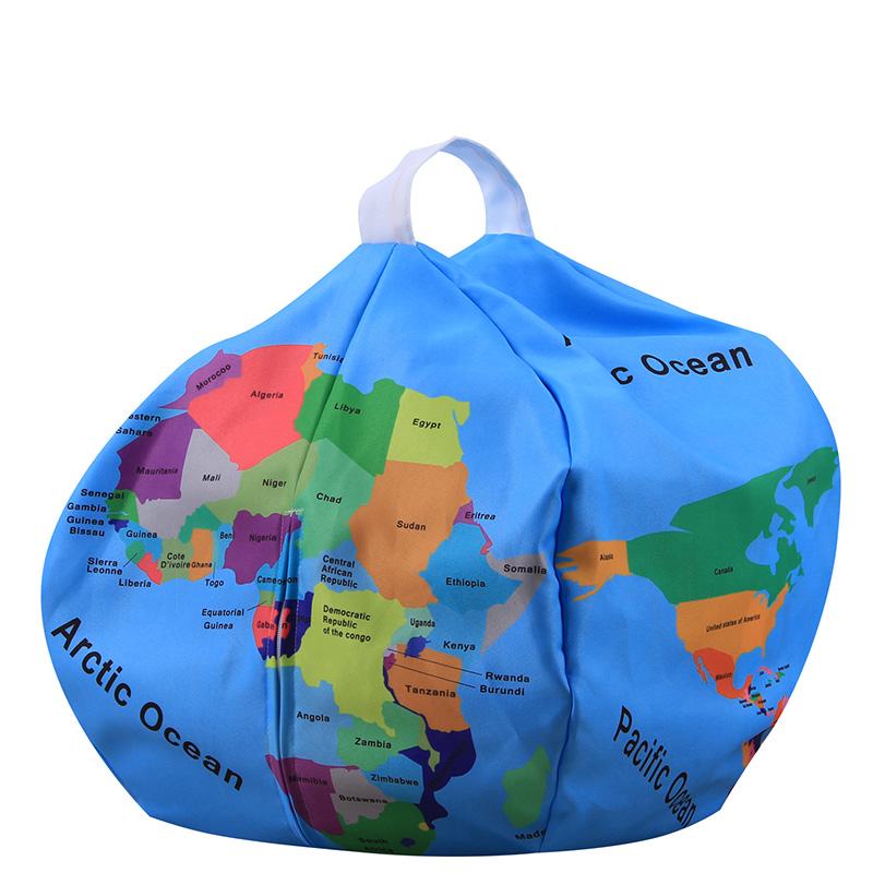 26 Inch Storage Beanbag Earth Tellurion Shape Clothes Plush Toys Orgnizer Sofa Bag Children Store Toy Neaten Child Bedroom