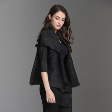 Plus Size Jackets Women 2018 Autumn Winter New Miyake Pleated Basic Solid Color