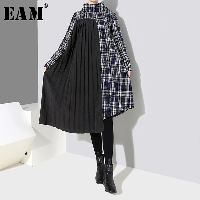 [EAM] 2019 New Spring  Winter High Collar Long Sleeve Black Plaid Printed Side Pleated Stitch Loose Dress Women Fashion JK830