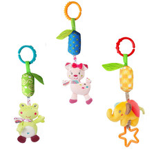 Baby Kids Rattle Toys Cartoon Animal Plush Hand Bell Newborn Baby Stroller Crib Hanging Rattles Baby Infant Toys Gifts(China)